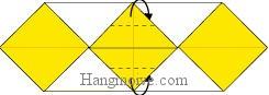Bước 5: Gấp hai góc giấy về phía sau sao cho vào giữa hai lớp giấy.
