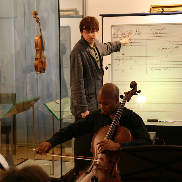 Alex Hills in a workshop at the Royal Academy of Music with Kwesi Edman