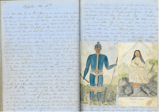 Page from the diary with sketch of native people