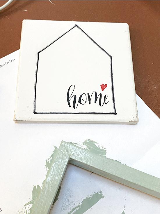 tiny heart and transfer on house shape