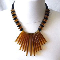 Vintage amber and black necklace 1980s in plastic