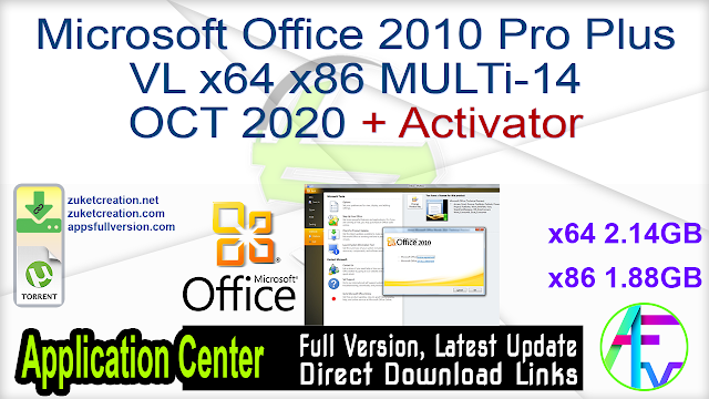 Microsoft Office 2010 Pro Plus VL x64 x86 MULTi-14 OCT 2020 {Gen2} + Activator
