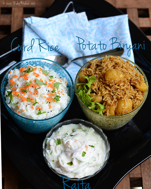baby potato biryani, curd rice
