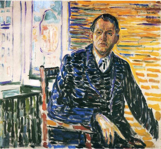 Эдвард Мунк - Автопортрет в больнице профессора Якобсона. 1909