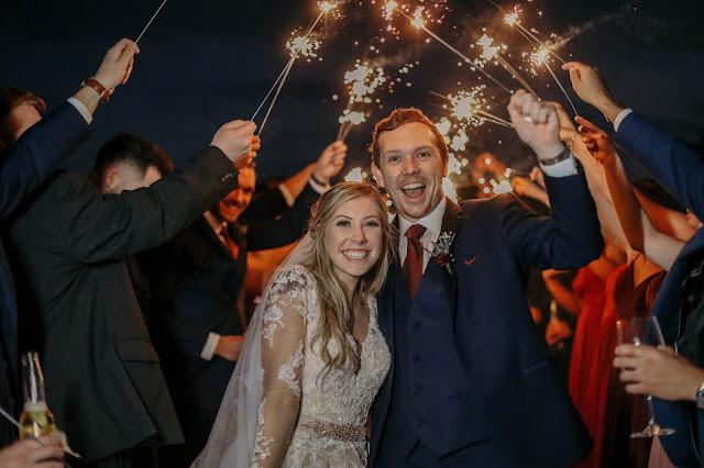 fort myers wedding sparkler exit