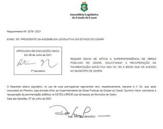 Deputado Rafael Branco pede recuperação de trecho da CE-183, em Cedro