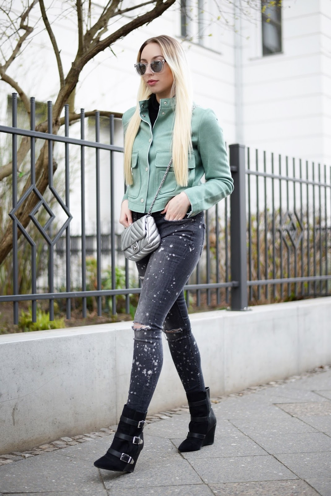 Mint green suede effect jacket zara