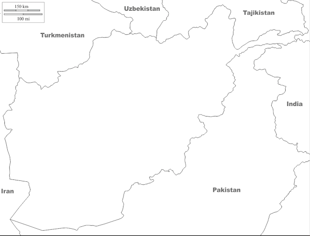 Outline Map of Afghanistan and Surrounding Countries