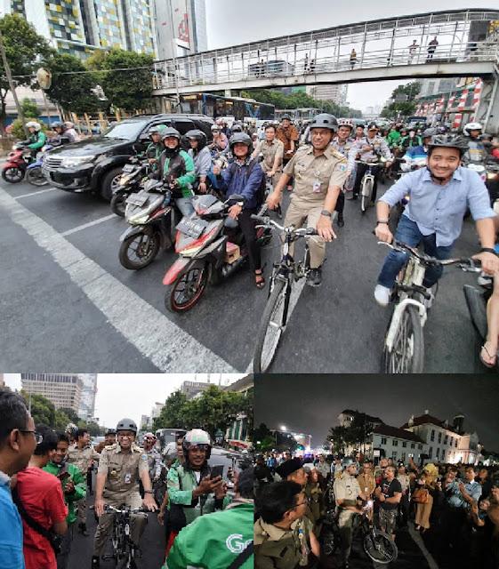 Gubernur Anies Inspeksi Jalanan dengan Bersepeda
