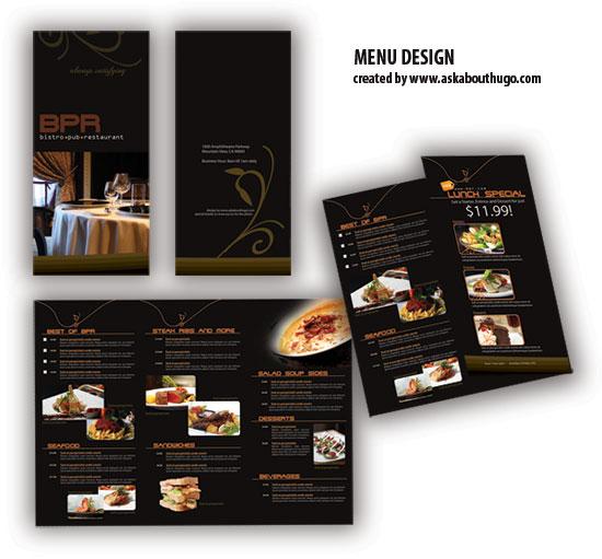 Elegante plantilla de menú para restaurantes