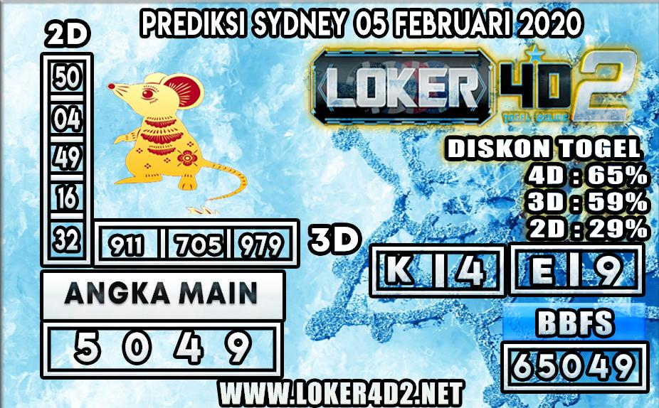 PREDIKSI TOGEL SYDNEY LOKER4D2 05 FEBRUARI 2020