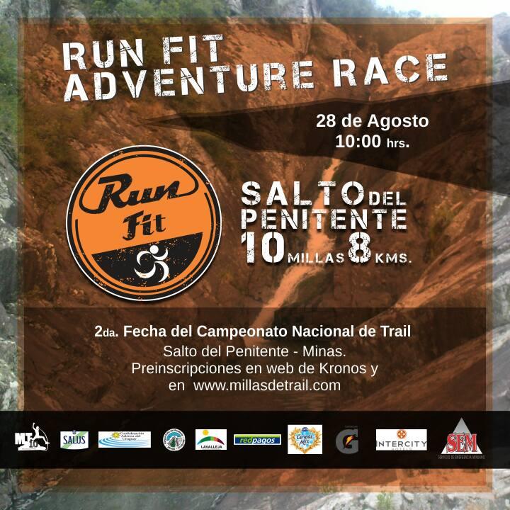 10 millas (16k) y 8k Runfit Adventure Race Salto del Penitente (Lavalleja, 28/ago/2016)