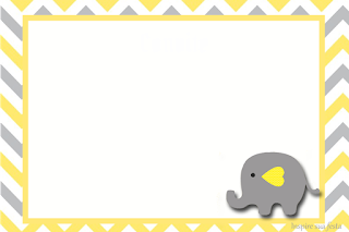 Baby Elephant in Grey and Yellow Chevron: Free Printable Invitations and Free Printable Candy ...