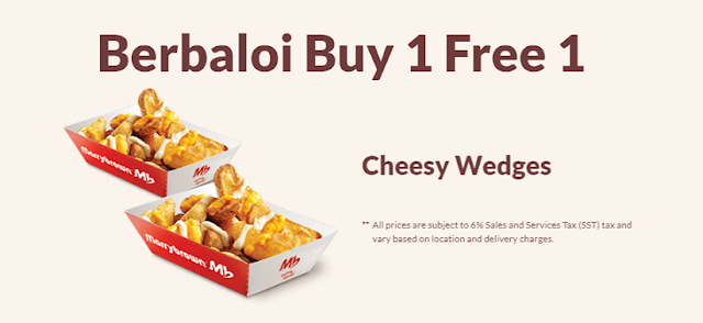 Berbaloi Puasa Buy 1 Free 1 Cheesy Wedges