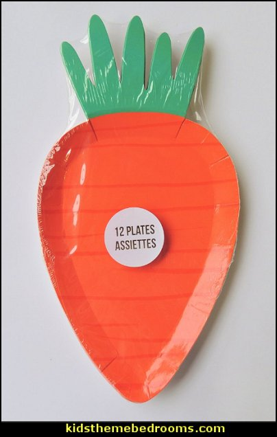 Carrot Easter Paper Plates 12 Count Dessert Plates Carrots Bunnies Orange Rabbit Easter Party Plates