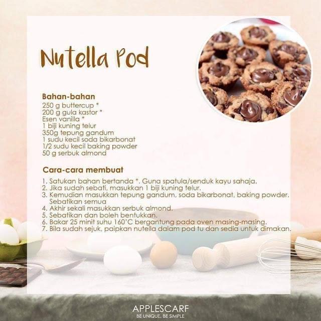 13 Resepi Biskut Raya Yang Sedap Dan Mudah, Kuih Nutella, Nutella Pod, Biskut Nutella, Resepi Biskut Nutella, Resepi Nutella Pod