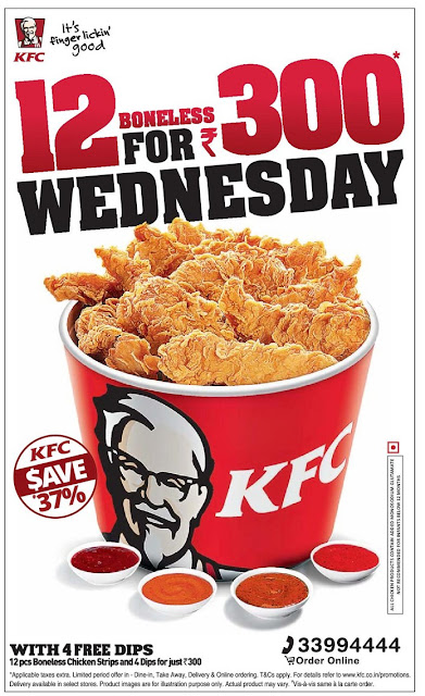 KFC - 12pcs boneless chicken strips and 4 dips for just Rs 300 | August 2016 discount offer