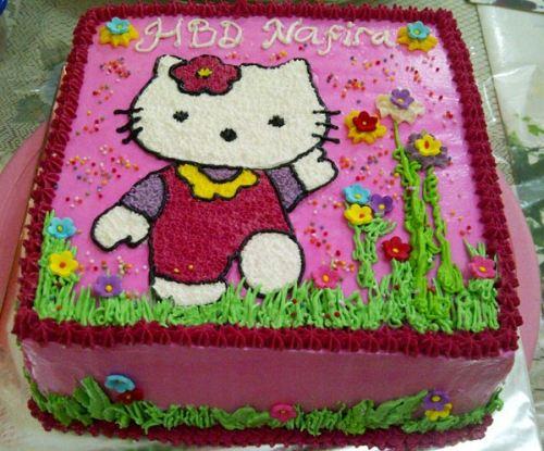 cara membuat kue ulang tahun hello kitty