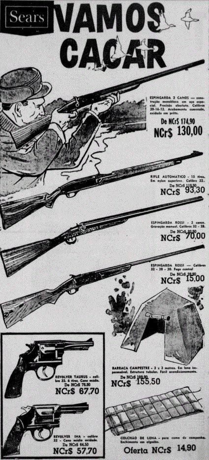 Propaganda antiga da Sears promovendo linha de armas em 1967
