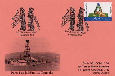 Tarjeta del GRUCOMI del matasellos de La Camocha