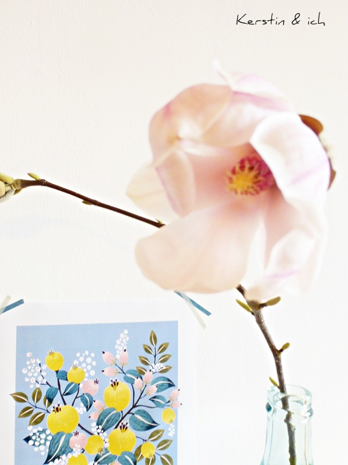 Frühlingsdeko Magnolien Blumenprint