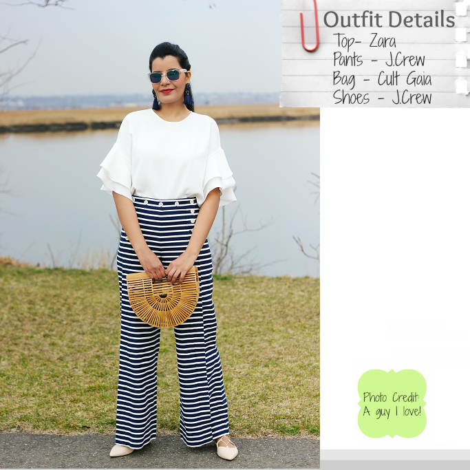 J.Crew Striped Saior Pants, J.Crew Striped Saior Pants Review, Zara Frilly Sleeve Top, Ruffle Sleeve Top, How To Wear Sailor Pants
