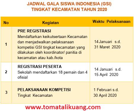 jadwal gsi smp 2020; tomatalikuang.com