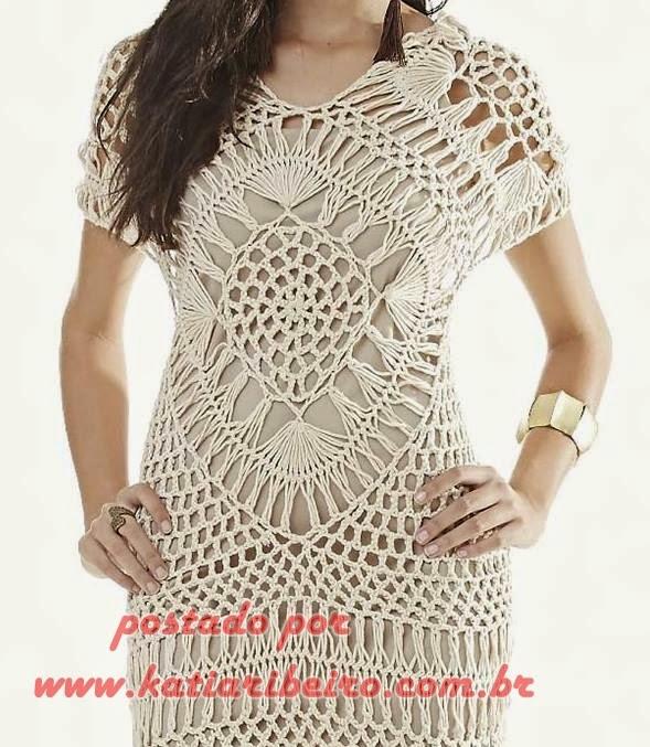 410593285 Vestido em Crochê de Grampo - Com gráfico e receita - Katia Ribeiro ...