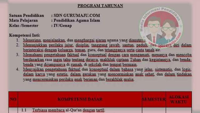 Download Prota PAI Kelas 4 Semester 2 SD K13 Revisi 2021