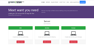 Situs GreenSSH tempat membuat akun SSH 1 bulan