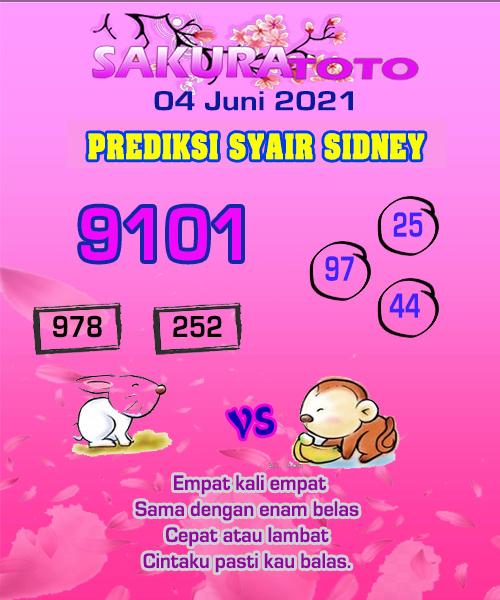 Syair Sakuratoto Sidney Jumat 04 Juni 2021