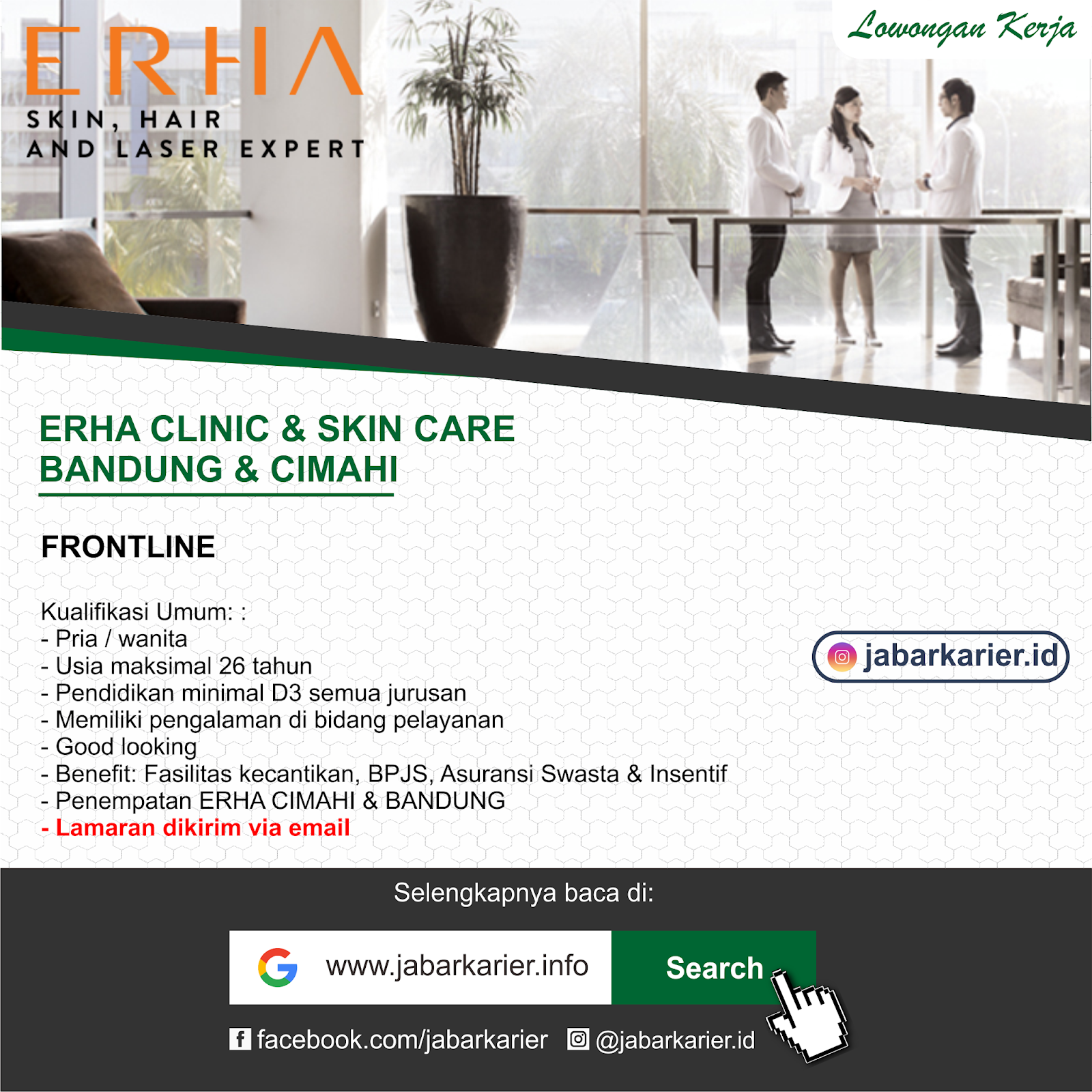 Lowongan Kerja ERHA Clinic Bandung & Cimahi Agustus 2019 ...