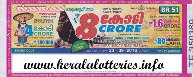 Kerala lottery Thiruvonam Bumper-2016 on September 23, 2016
