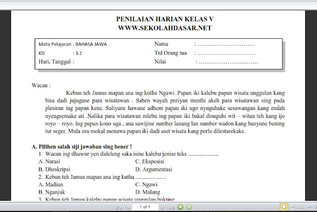 Soal Penilaian K13 Kelas 5 Bahasa Jawa KD 3.1 (Teks Narasi atau Deskripsi)