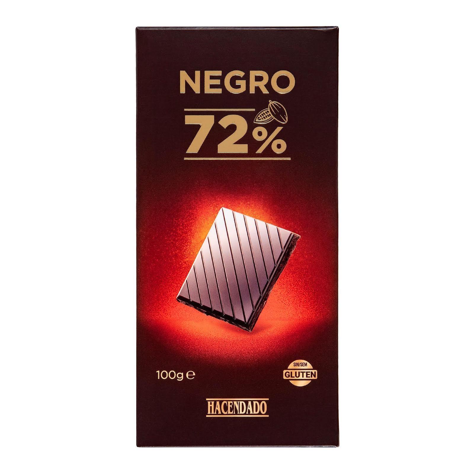 Chocolate negro extrafino 72% de cacao Hacendado