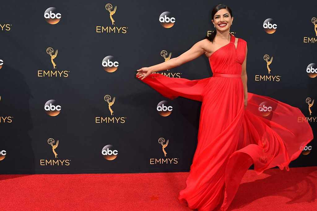 Indian Actress Priyanka Chopra Photos In Hot Red Dress At Movie Awards
