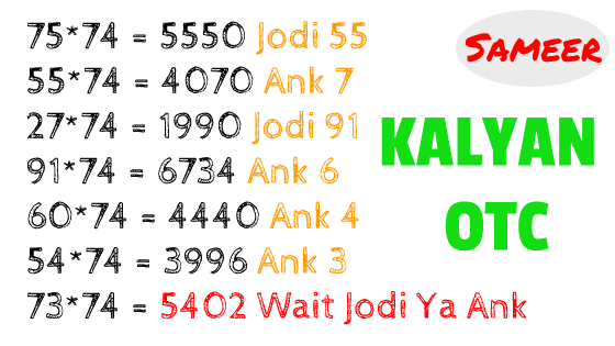 KALYAN LIVE JODI 13 AUGUST 2019 FULL & FINAL JODI ANK