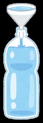 ろうととペットボトルのイラスト(水)