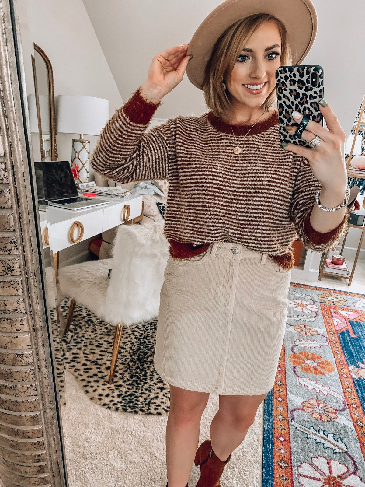ASOS New Fall Arrivals - $40 Stripe Sweater + $32 Cord Skirt - Something Delightful Blog #fallstyle #affordablefashion