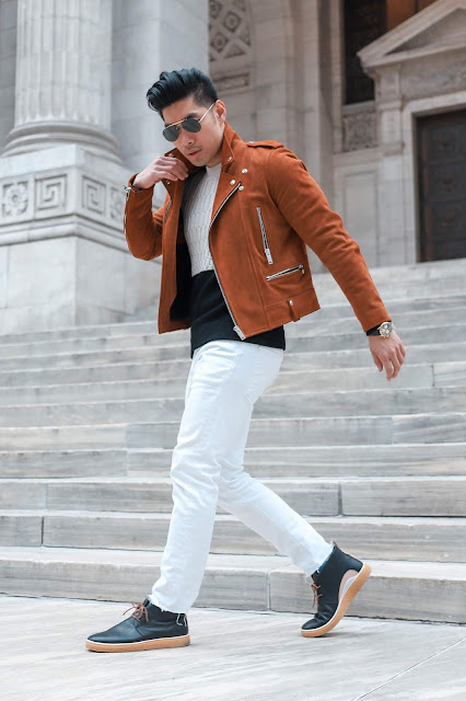 Leo Chan wearing Brown Suede Sandro Jacket for Fall