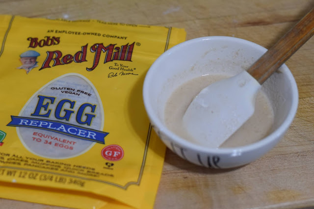 Making a vegan egg with Bob's Red Mill Egg replacer.