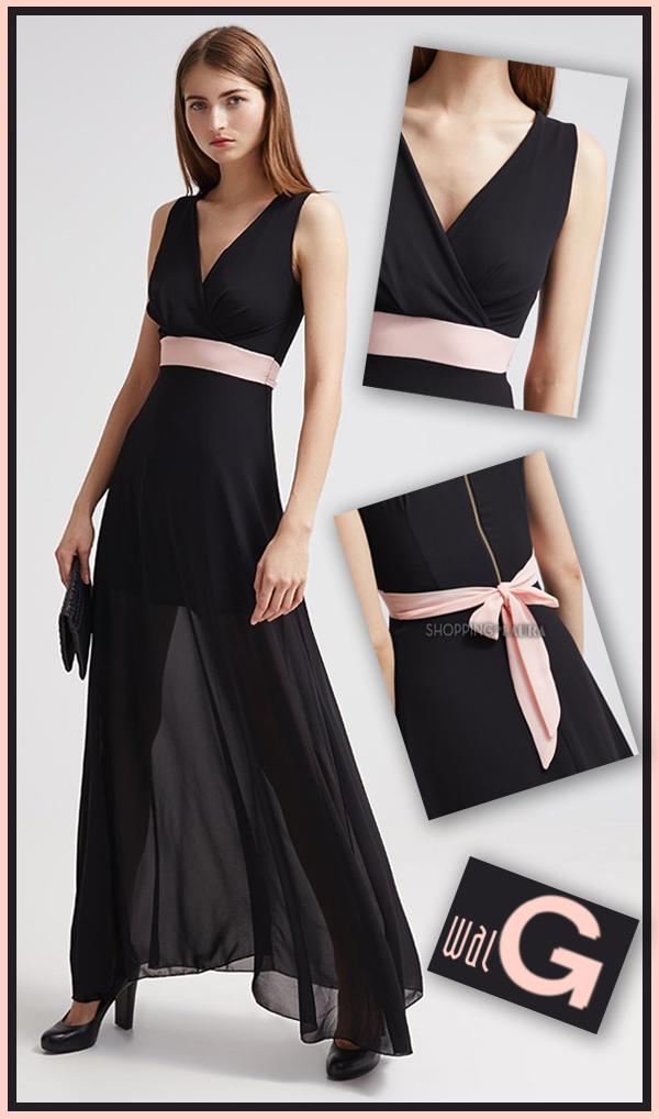 Robe soiree noire et rose