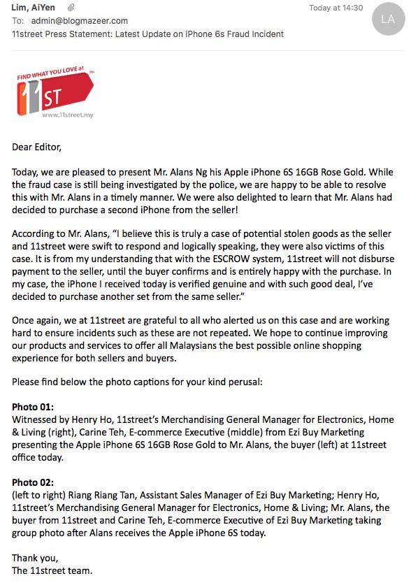 Susulan Kes iPhone 6S yang Dibeli di 11Street.My Bertukar Menjadi Kunci Mangga