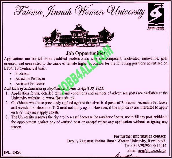 Latest Jobs 2021 Fatima  Women University Pakistan
