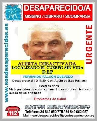 Localizan el cuerpo sin vida de hombre desaparecido de Agüimes Fernando Falcón Quevedo