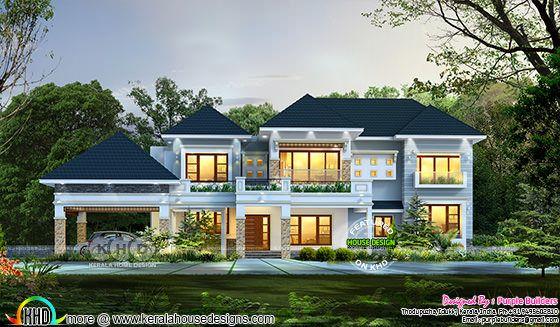 4 bedroom sloped roof modern home