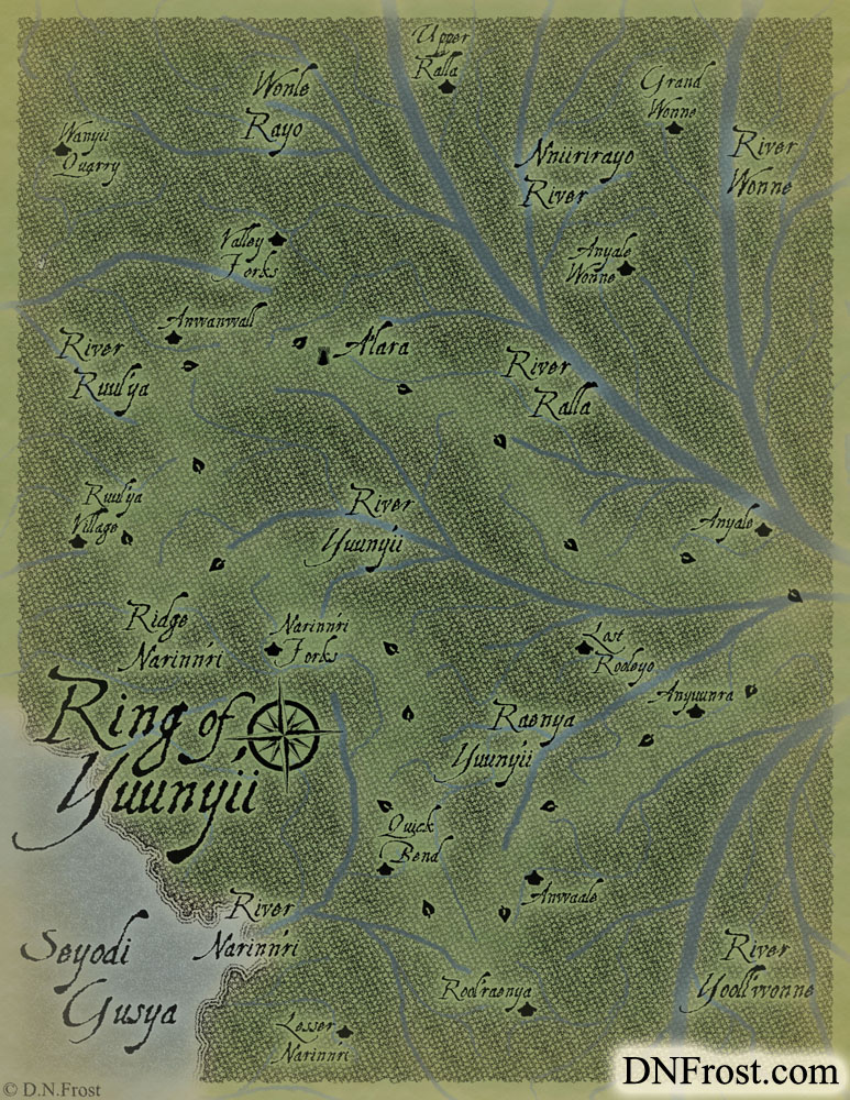 The Ring of Yuuny'ii: nomadic routes of central nymph clans www.DNFrost.com/maps #TotKW A map for Broken by D.N.Frost @DNFrost13 Part of a series.