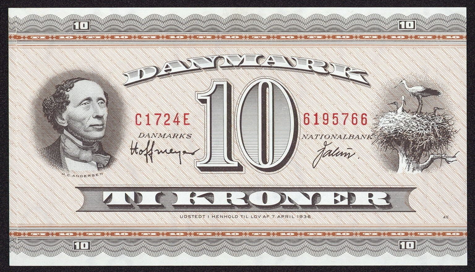 Banknotes of Denmark 10 krone banknote 1936 Hans Christian Andersen
