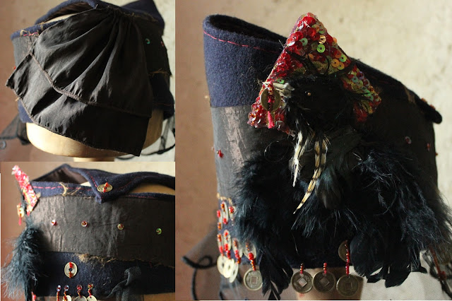 Gothic witch's hat from 3 angles