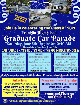 Car Parade Schedule for June 5, 2021